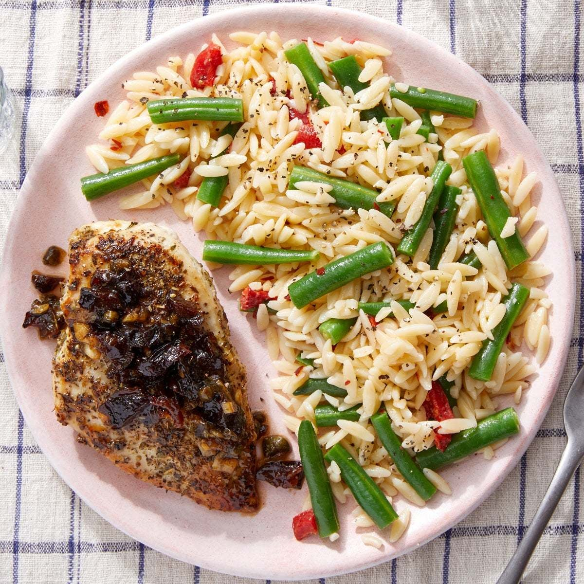 Seared Chicken & Vegetable Orzo with Brown Sugar & Caper Pan Sauce