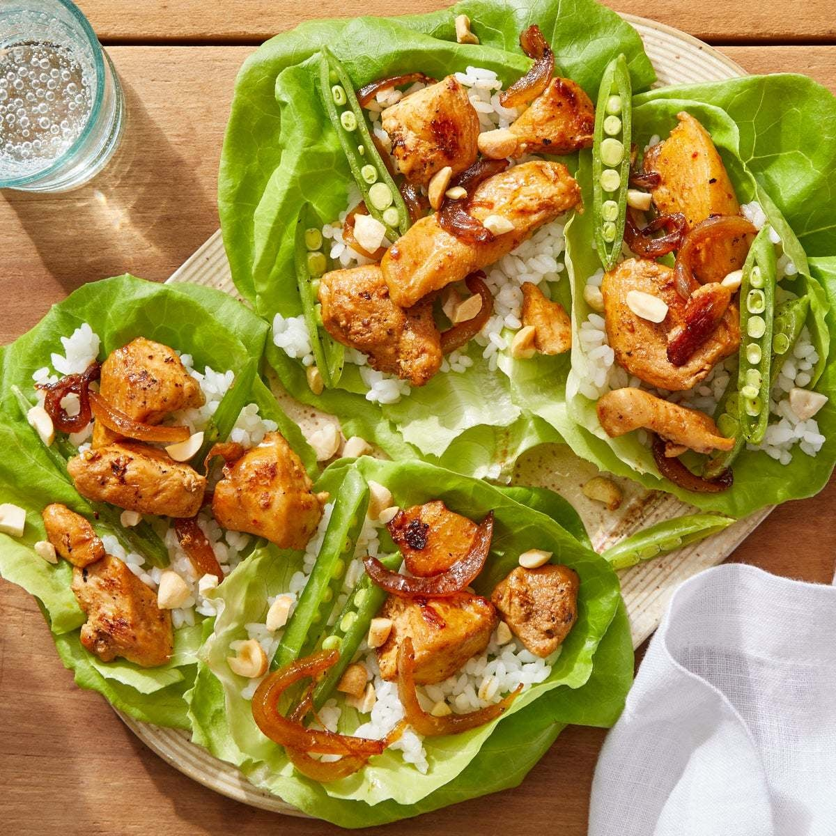 Thai Chicken Lettuce Cups with Rice & Marinated Snap Peas
