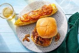 Smoked Gouda  & Onion Burgers with Corn on the Cob