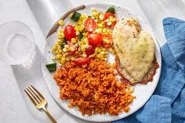 Cheesy Chicken & Guajillo Rice with Tomatoes, Corn & Poblano Pepper