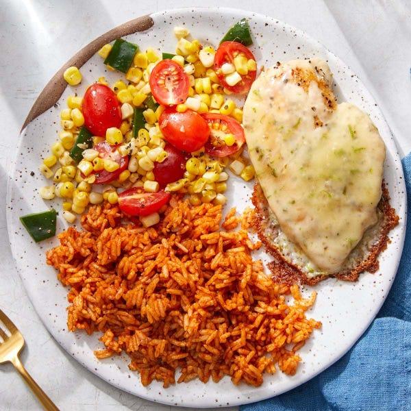 Cheesy Chicken & Guajillo Rice with Tomatoes, Corn & Poblano Pepper