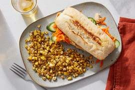 White Bean, Cucumber & Feta Sandwiches with Dukkah-Spiced Corn