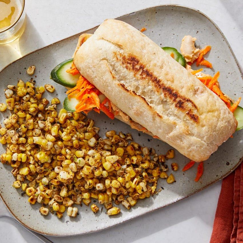 White Bean, Cucumber & Feta Sandwiches with Dukkah-Spiced Corn