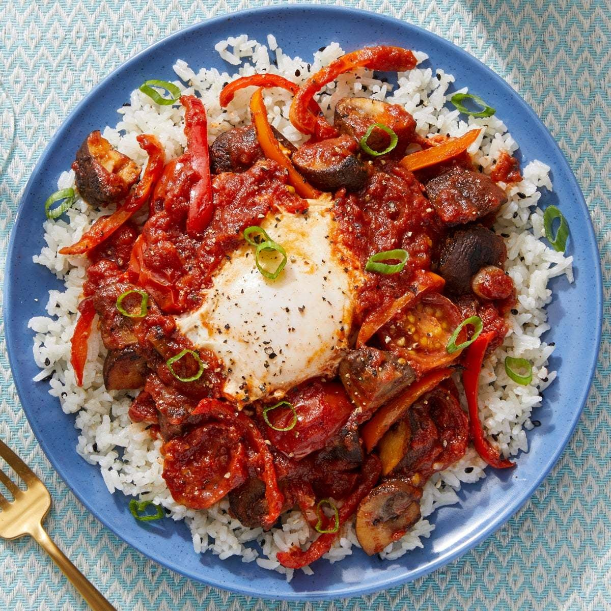 Spicy Egg & Vegetable Skillet with Gochujang-Tomato Sauce & Sesame Rice