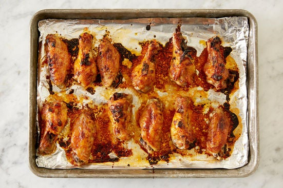 Glaze & finish the chicken wings: