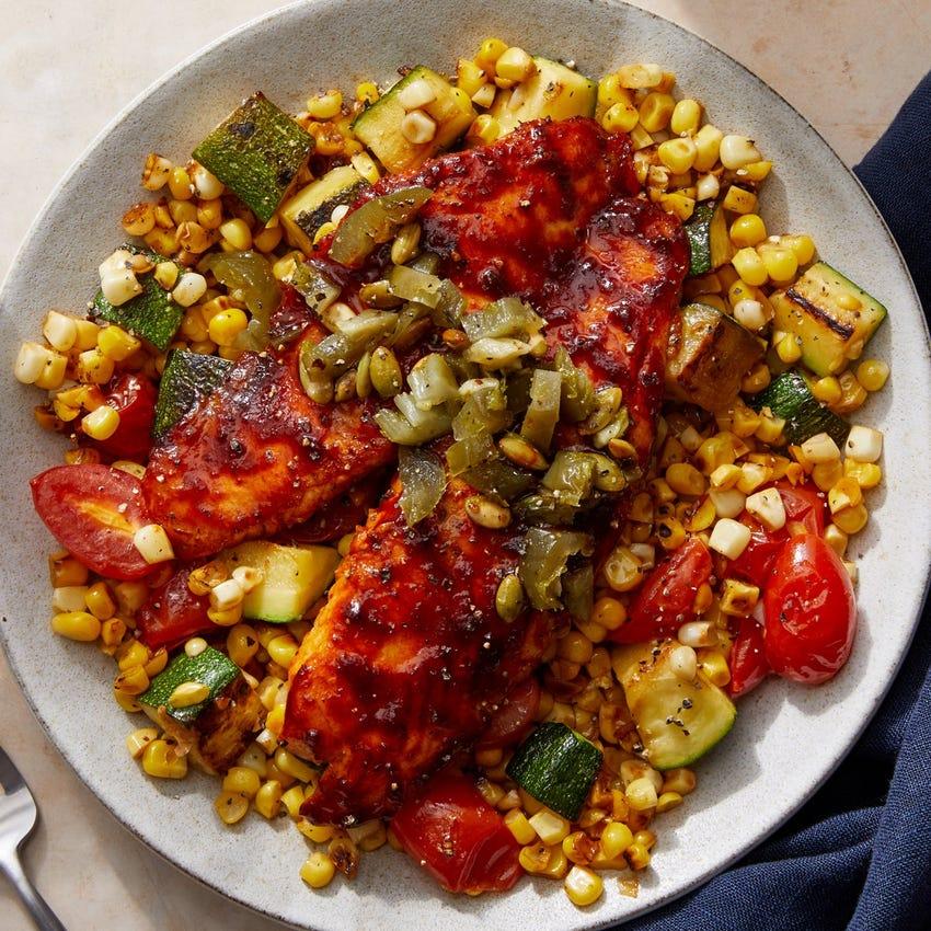 Seared Tilapia & Ancho-Honey Glaze with Toasted Pepita & Jalapeño Salsa