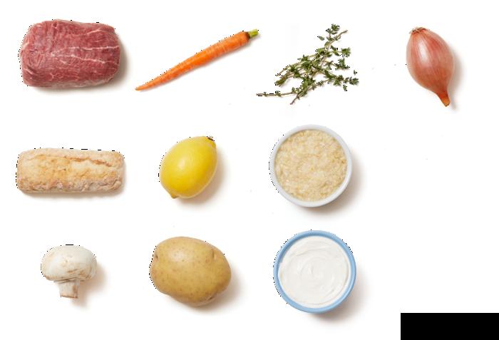 Open-Faced Roast Beef Sandwiches with Mushrooms & Horseradish Cream Sauce ingredients