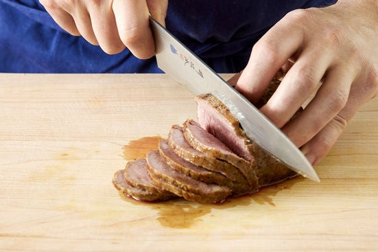 Slice the beef & plate your dish: