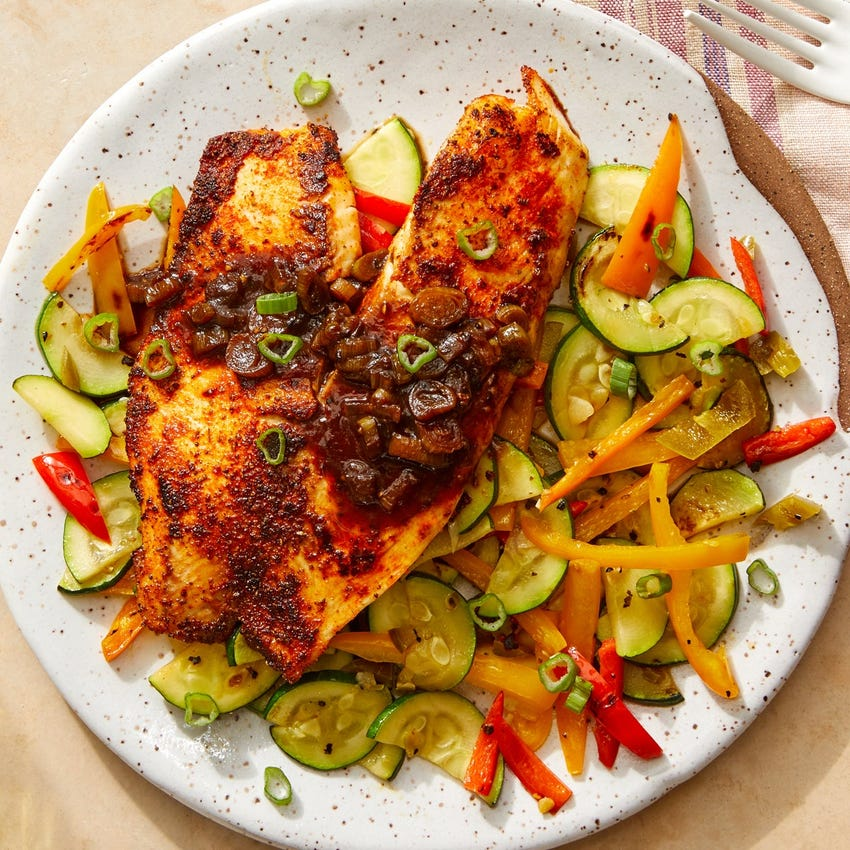 Chesapeake-Spiced Tilapia with Sweet Peppers & Zucchini