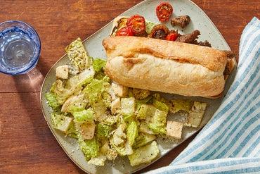 Beef & Pesto Ricotta Sandwiches with Romaine Salad & Balsamic Vinaigrette