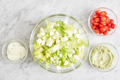 Prepare the ingredients & make the pesto spread: