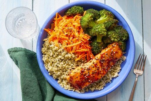 Glazed Salmon & Cilantro Rice Bowls with Marinated Carrots & Sesame Broccoli