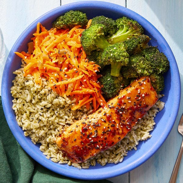 Glazed Salmon & Cilantro Rice Bowls with Marinated Carrots & Sesame Broccoli