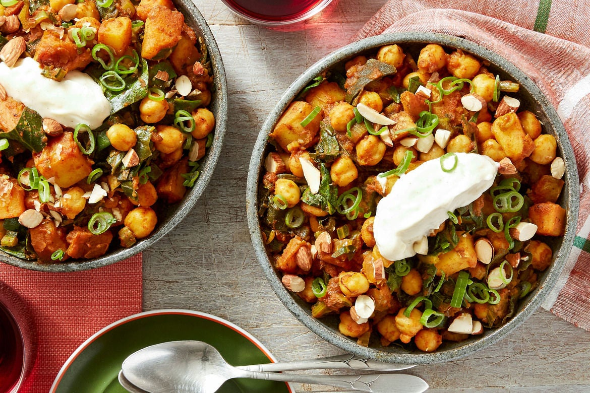 Spanish-Style Potato & Chickpea Stew with Swiss Chard & Aioli