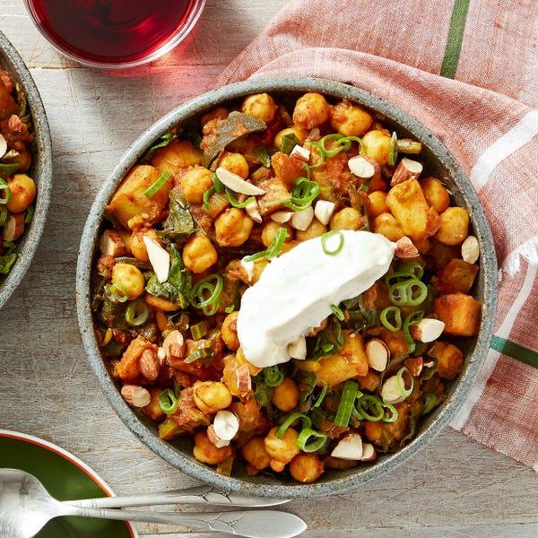 Spanish-Style Potato & Chickpea Stew with Swiss Chard & Aioli