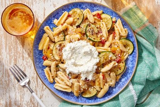 Yellow Tomato & Zucchini Pasta with Garlic Ricotta
