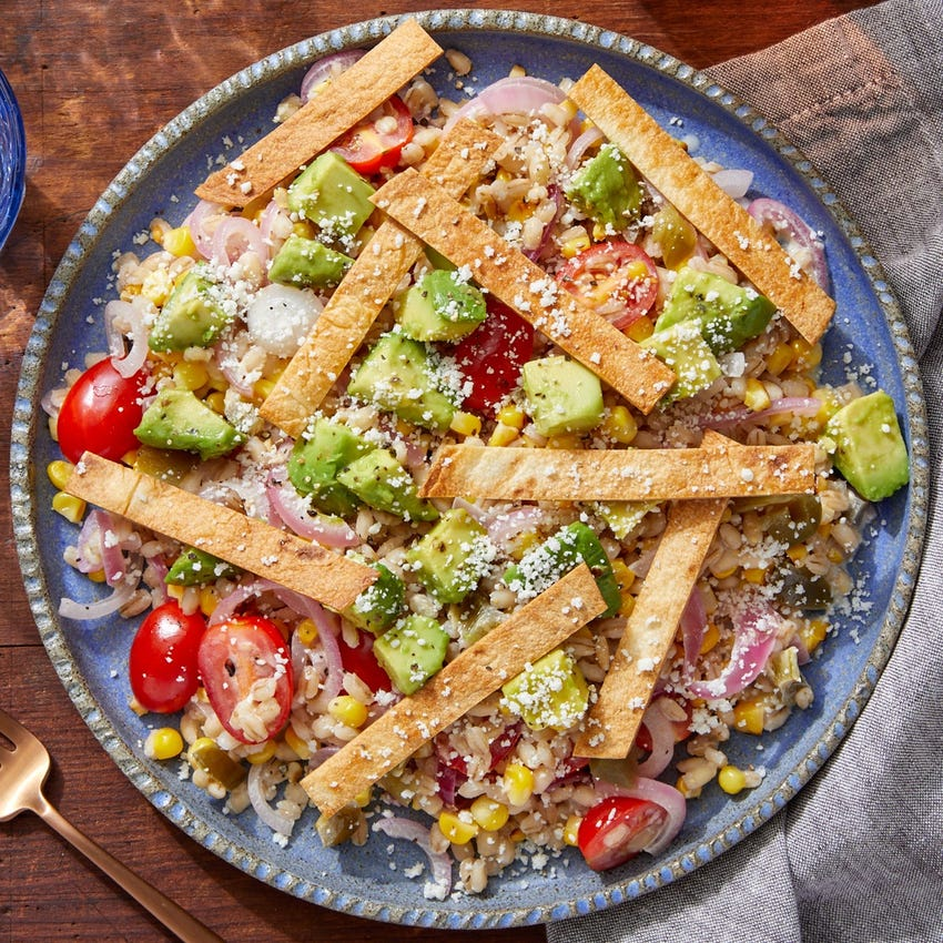 Corn, Avocado & Barley Bowl with Pickled Onion & Crispy Tortilla Strips