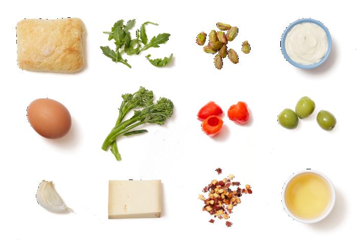 Baby Broccoli & Fontina Paninis with Hard-Boiled Egg & Arugula Salad ingredients
