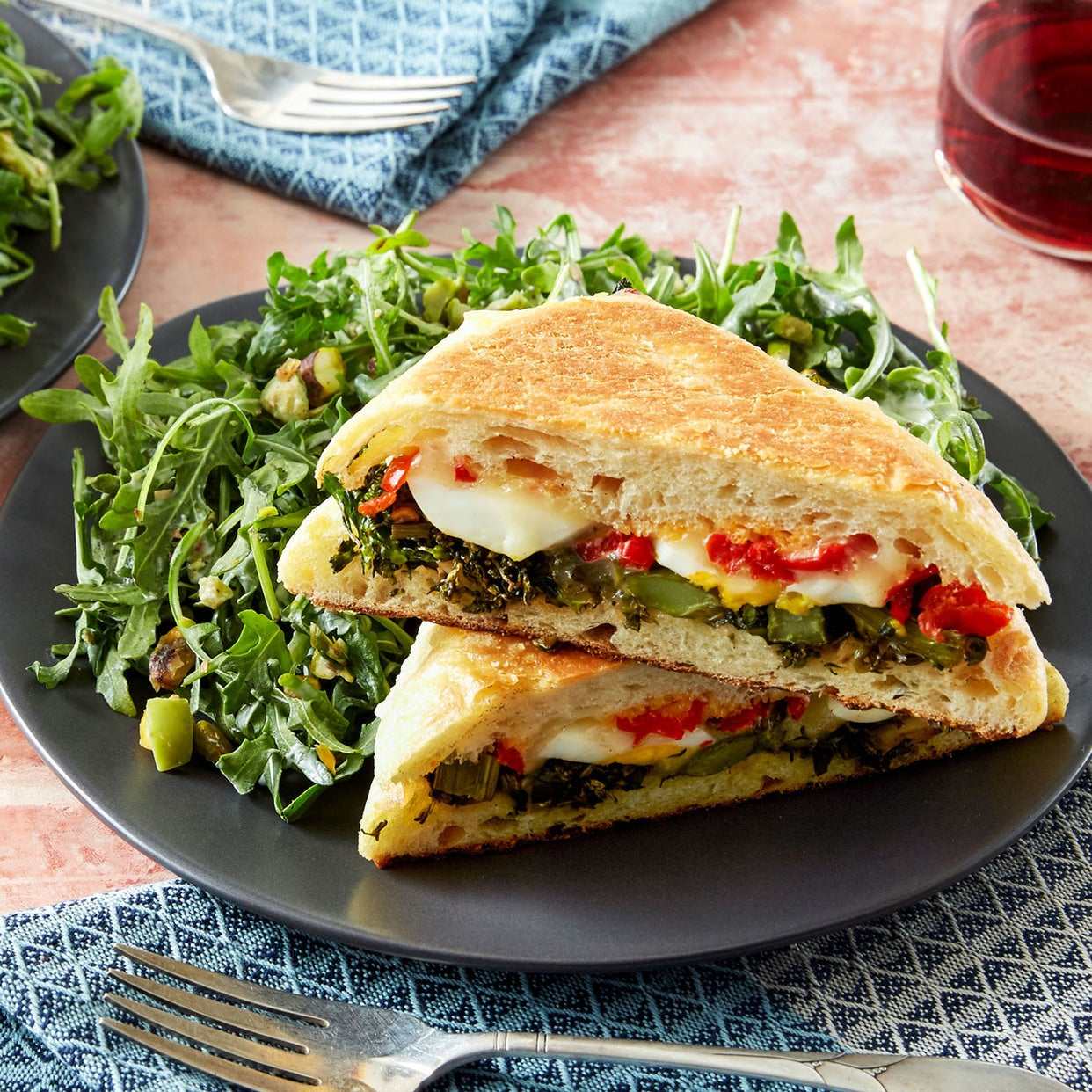 Baby Broccoli & Fontina Paninis with Hard-Boiled Egg & Arugula Salad