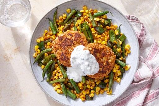 Spiced Fish Cakes & Caper Yogurt over Sautéed Green Beans & Corn