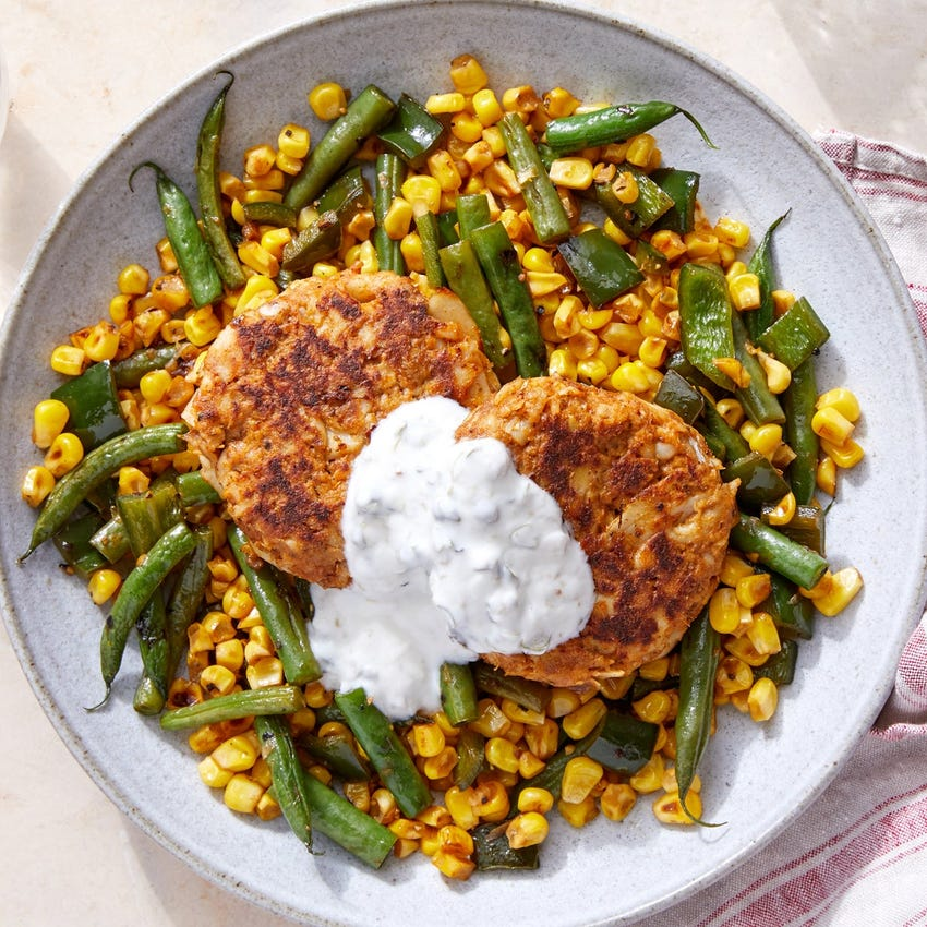 Spiced Fish Cakes & Caper Yogurt over Sautéed Green Beans & Corn