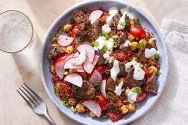 Dukkah-Spiced Beef & Tahini Yogurt over Chickpea & Quinoa Salad