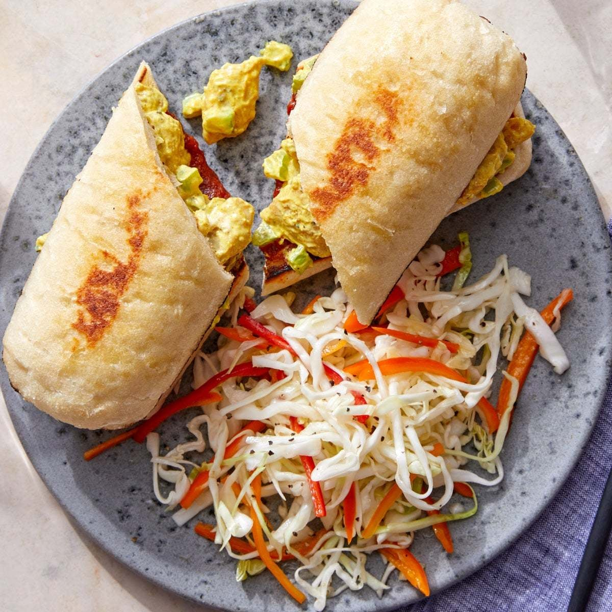 Curry Chicken Salad Sandwiches with Sweet Pepper & Cabbage Slaw