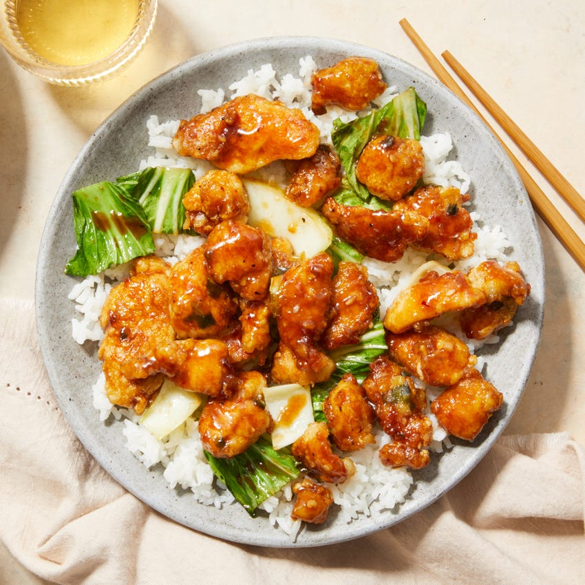 General Tso's Chicken with Bok Choy &  Jasmine Rice
