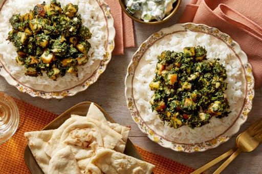 Saag Paneer with Basmati Rice, Naan & Cucumber-Yogurt Sauce