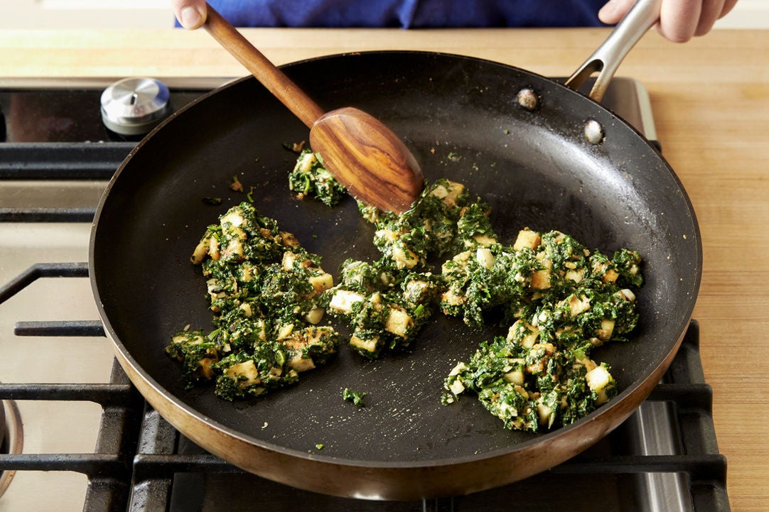 Make the saag paneer: