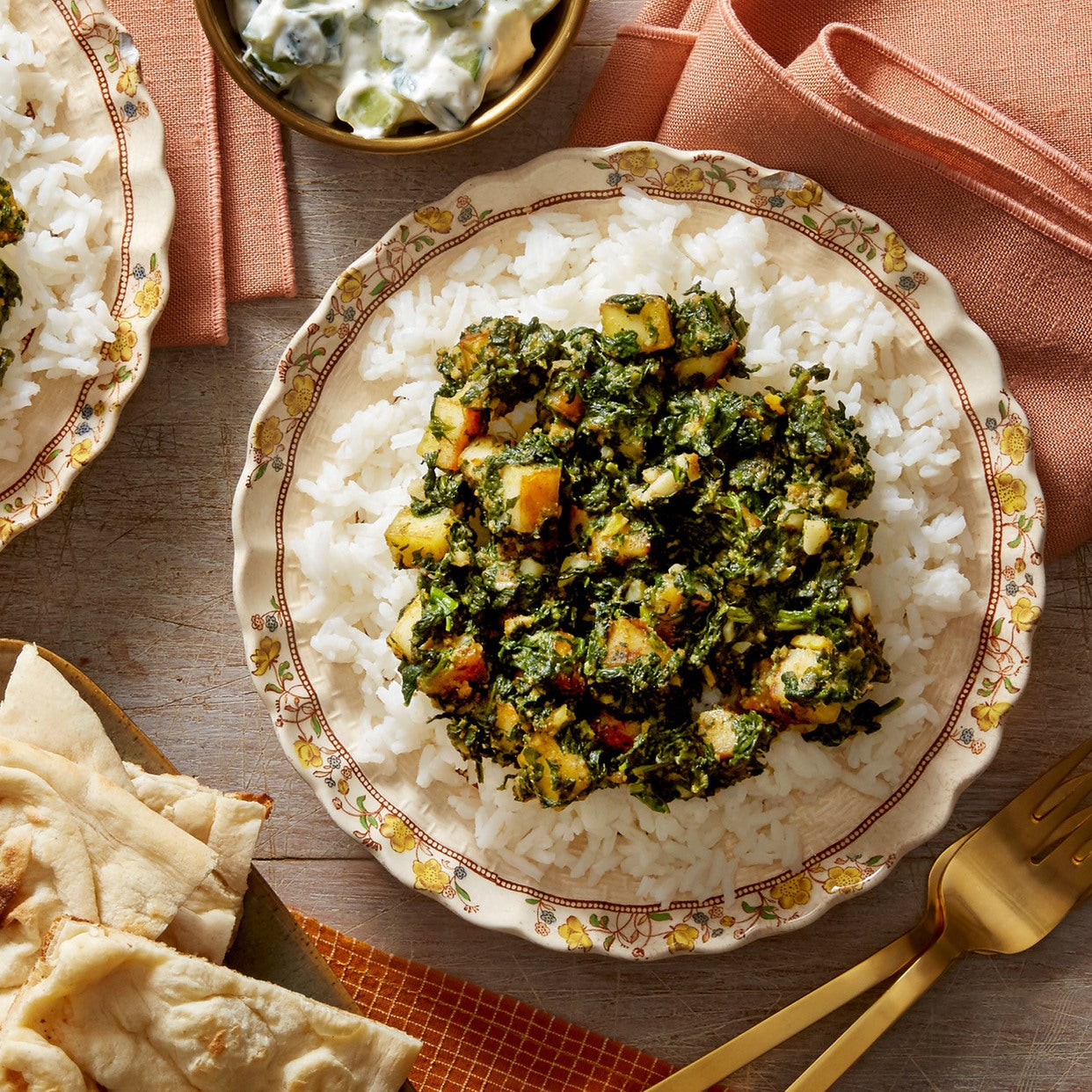 Saag Paneer with Basmati Rice, Naan & Cucumber-Yogurt Sauce