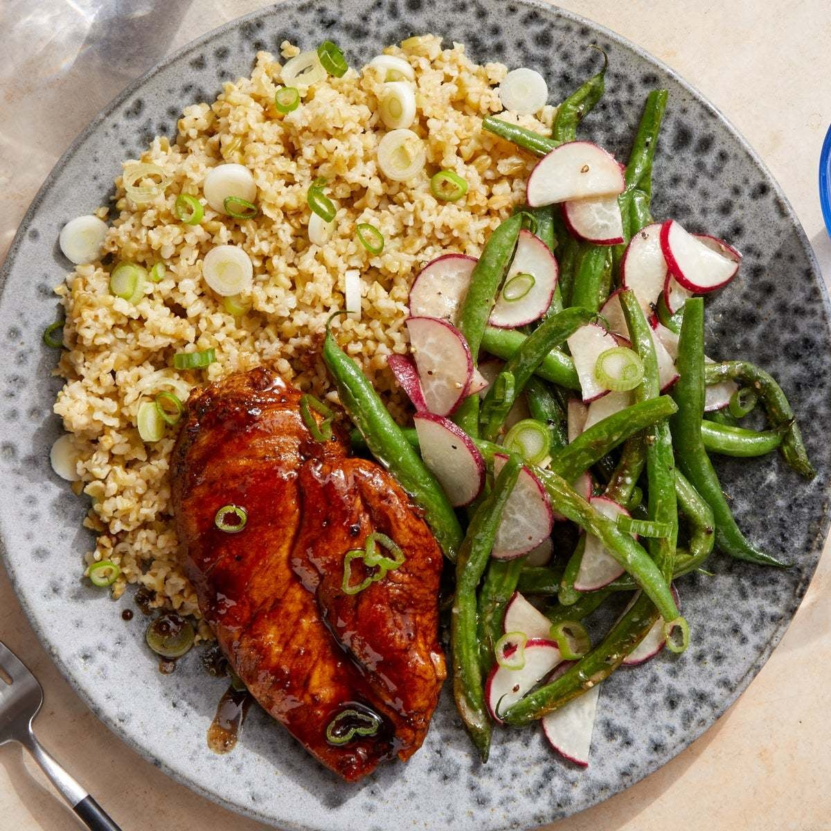 Sweet & Savory Glazed Chicken with Sesame Freekeh & Miso-Honey Vegetables