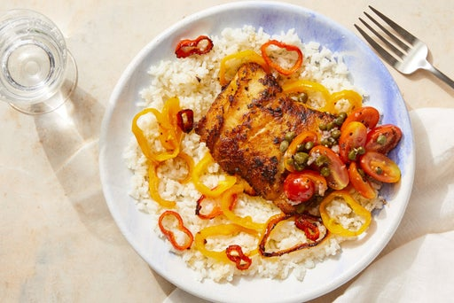 Spiced Cod & Tomato-Caper Topping with Creamy Rice