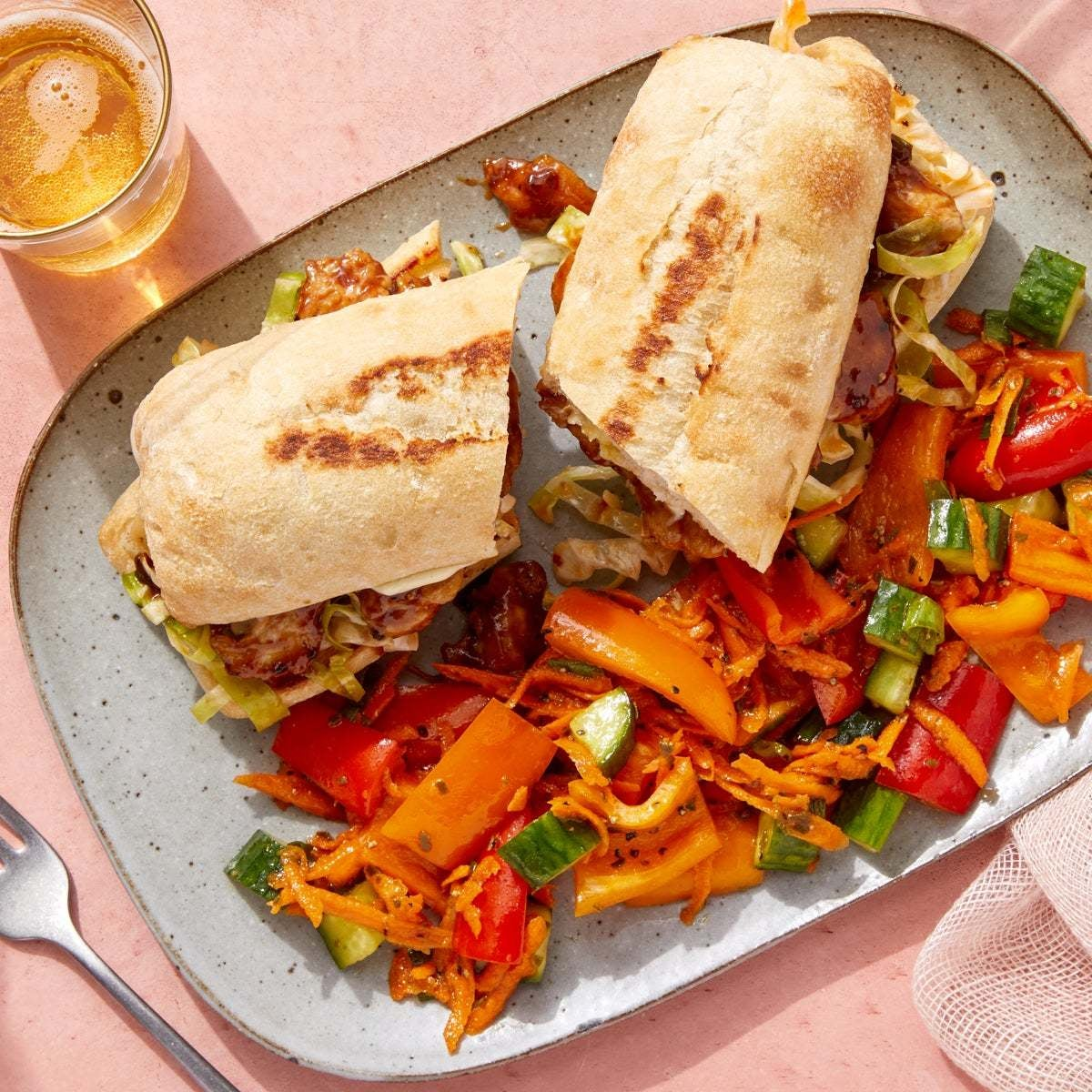 Hoisin Chicken Sandwiches with Carrot & Pepper Slaw