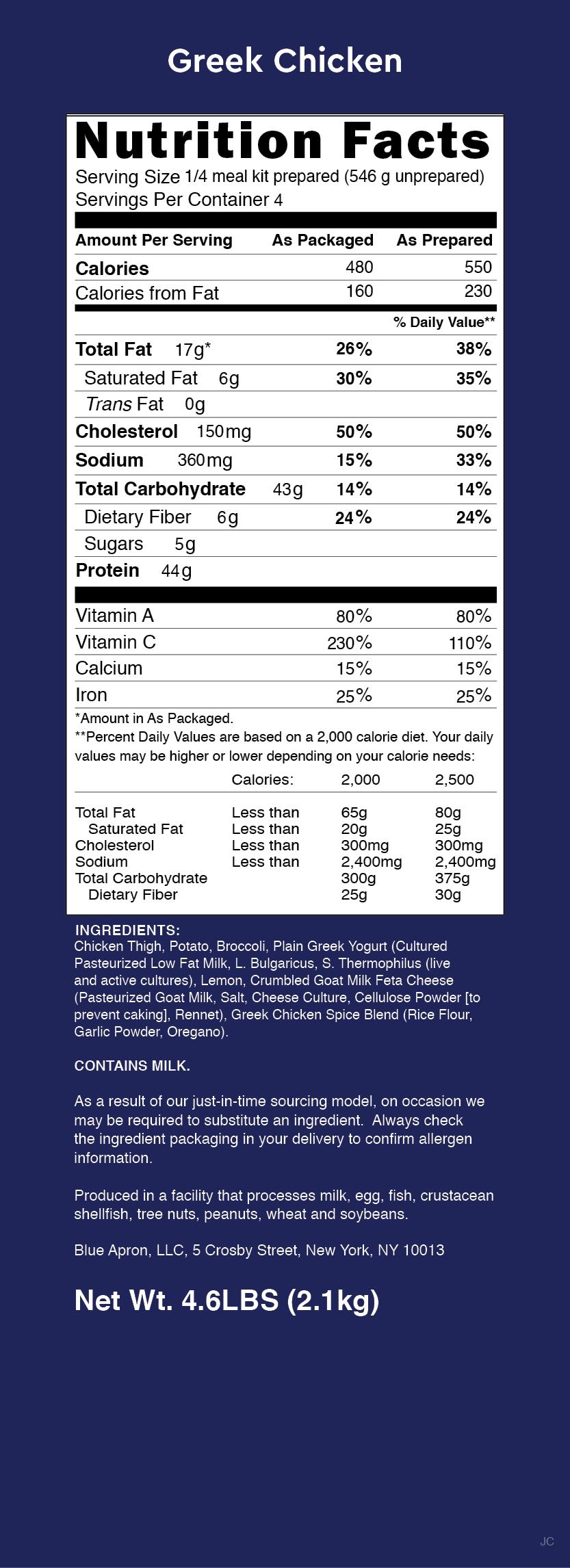 Blue apron greek chicken - Nutrition Label