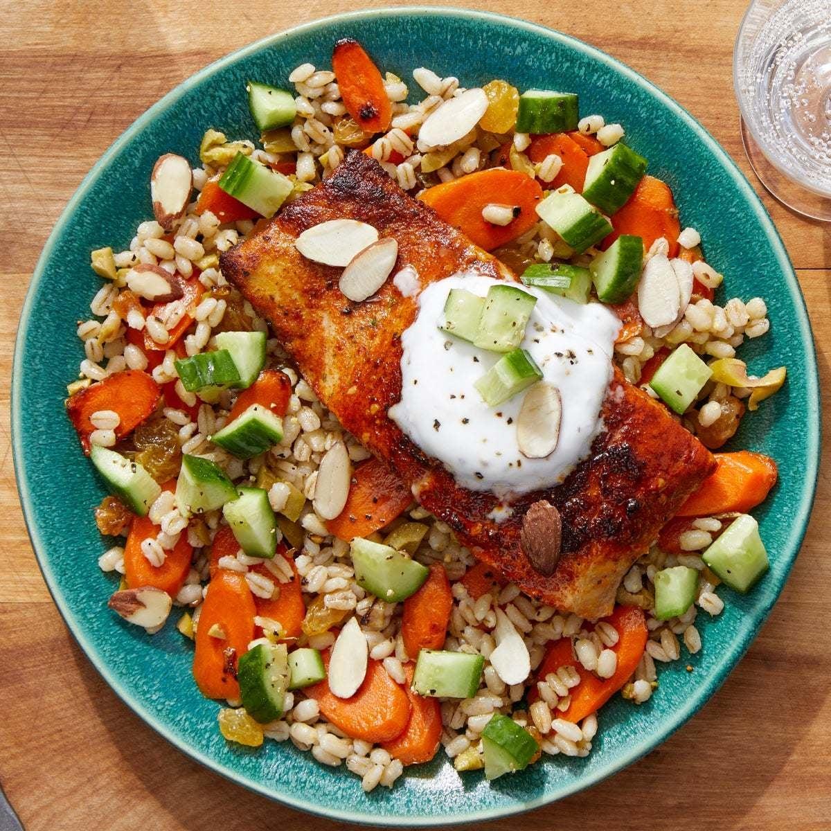 Spiced Salmon & Garlic Yogurt over Barley, Carrots & Olives