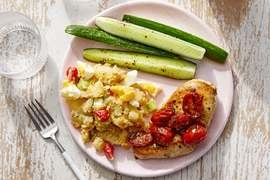 Seared Chicken & Fresh Tomato Pan Sauce with Southern-Style Potato Salad