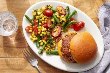 Italian-Style Pork Burgers with Tomato, Green Bean & Corn Salad