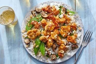 Sweet & Spicy Turkey Stir-Fry with Rice, Snow Peas & Mushrooms