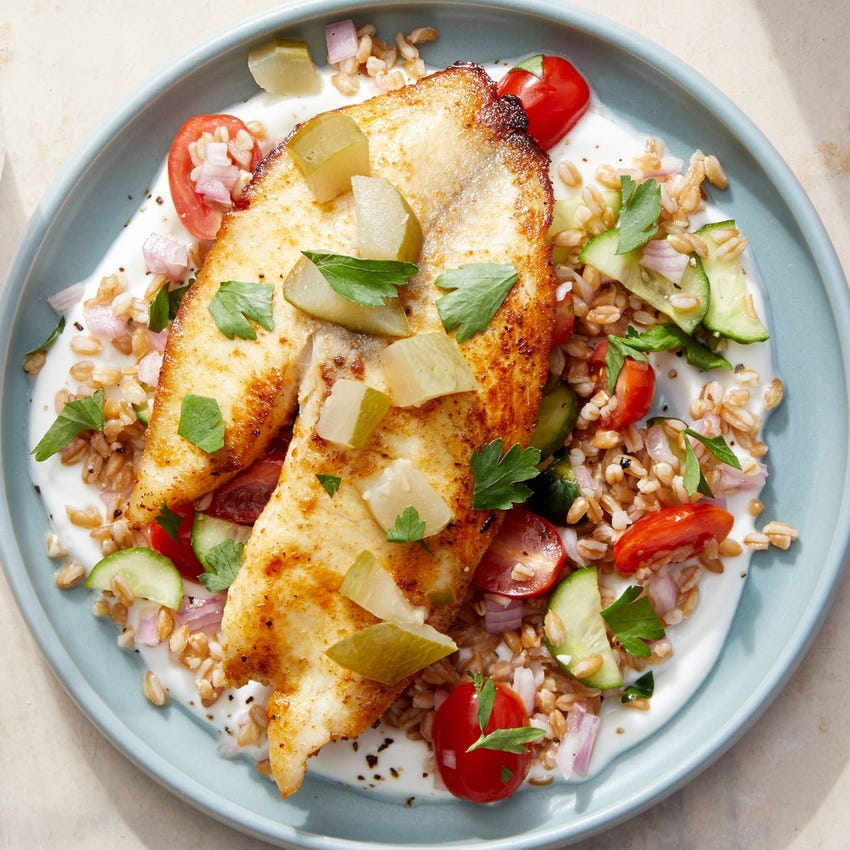 Spiced Tilapia & Farro Salad over Greek Yogurt