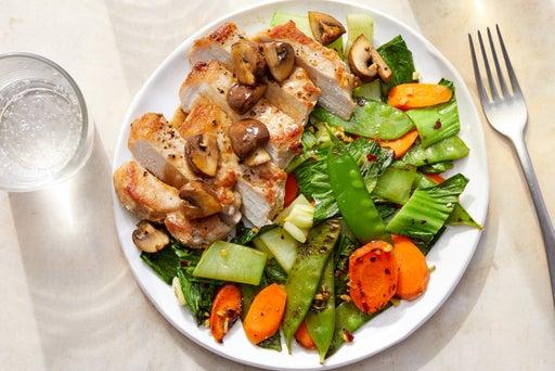 Asian-Style Pork & Mushroom Pan Sauce with Snow Peas, Carrots & Bok Choy