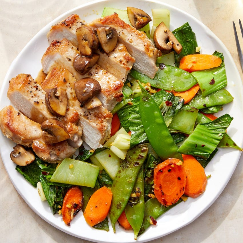 Asian-Style Pork & Mushroom Pan Sauce with Snow Peas, Carrots & Bok Choy