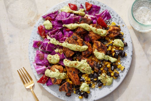 Mexican Chicken & Guacamole Dressing with Sautéed Corn & Black Beans