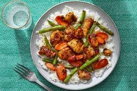 Spicy Sambal Chicken & Rice with Stir-Fried Vegetables