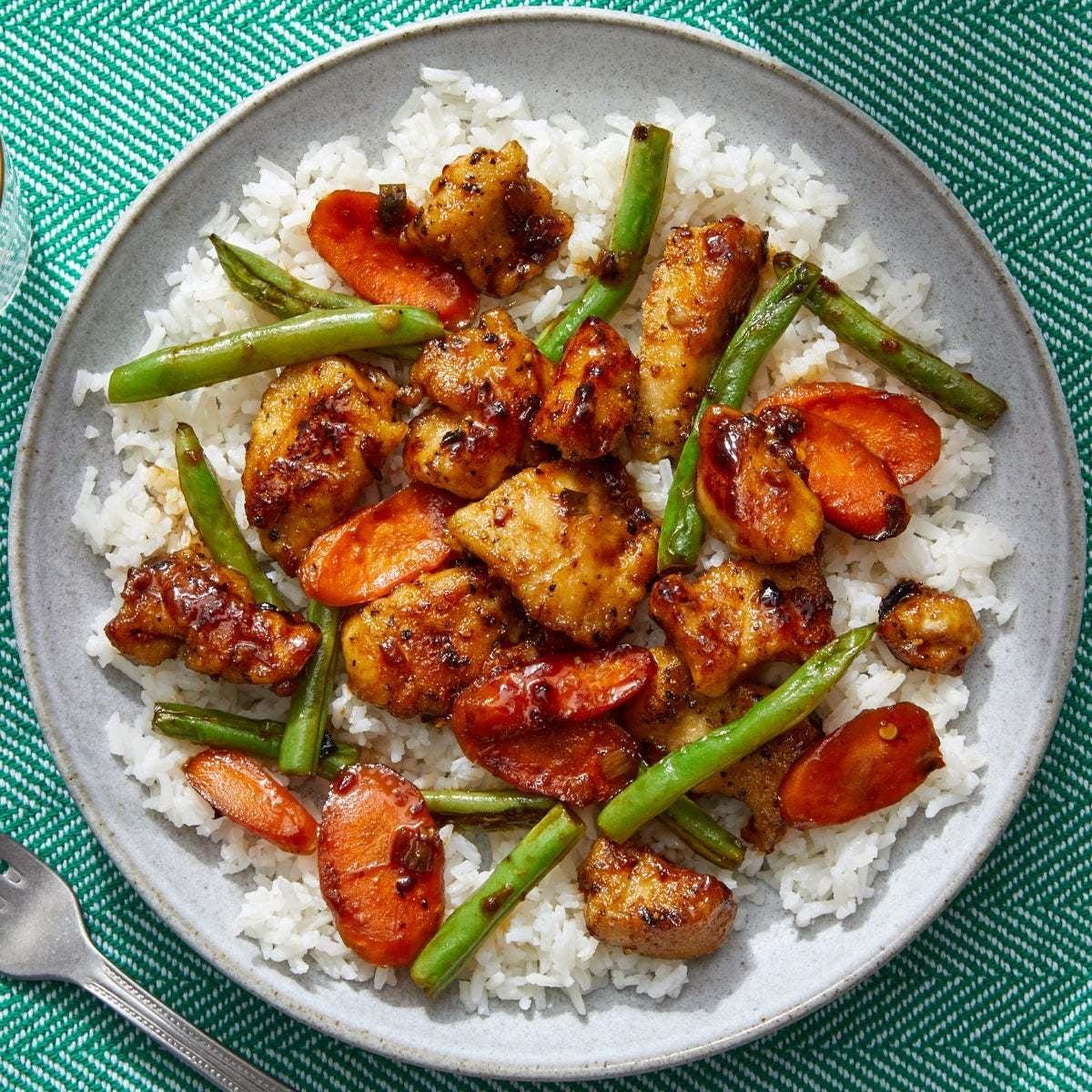 Spicy Sambal Chicken & Rice with Stir-Fried Vegetables
