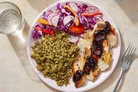 Chicken & Spicy Chipotle Pan Sauce with Cilantro Farro & Cabbage Slaw