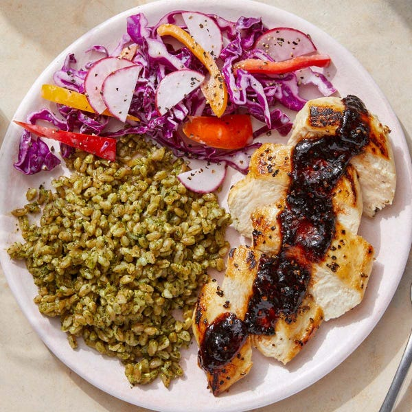 Chicken & Spicy Chipotle Pan Sauce with Cilantro Farro & Cabbage Slaw
