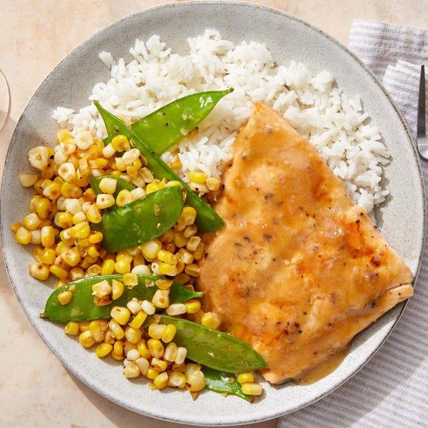 Miso-Butter Salmon with Sautéed Corn & Snow Peas