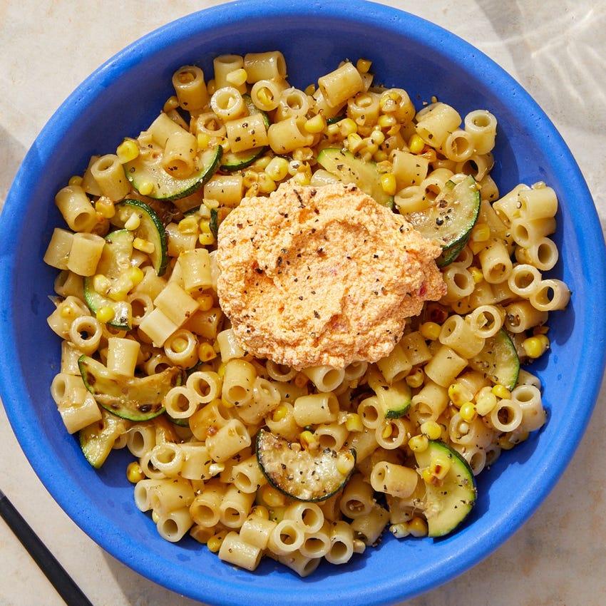 Ditali Pasta & Spicy Ricotta with Sweet Corn & Zucchini