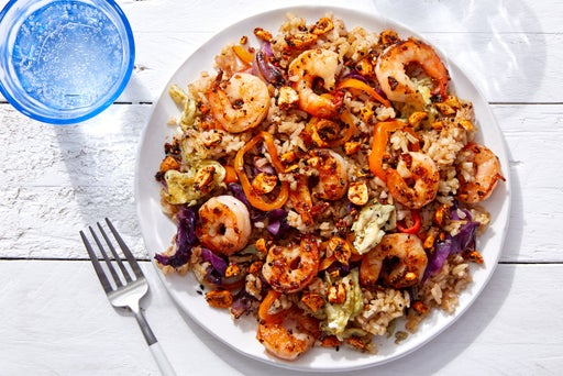 Shrimp Fried Rice with Cabbage, Sweet Peppers & Togarashi Peanuts